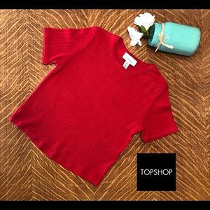 Topshop Red Ribbed top, Sz 2